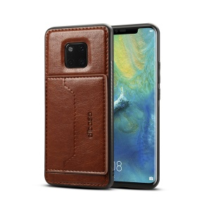 Crazy Horse Card Holder Leather Coated Hybrid Phone Casing for Huawei Mate 20 Pro - Coffee