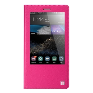 OATSBASF Cross Texture Window Cowhide Leather Flip Shell for Huawei Ascend P8 Max - Rose