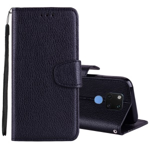 Litchi Texture Wallet Leather Stand Case with Strap for Huawei Mate 20 - Black