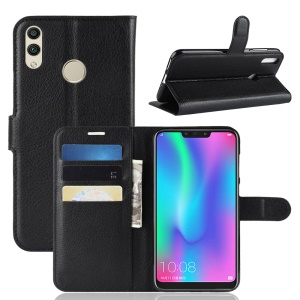 Litchi Texture Wallet Stand Protective Leather Case for Huawei Honor 8C - Black