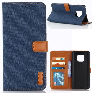 Oxford Cloth Wallet Stand PU Leather Cover for Huawei Mate 20 Pro - Dark Blue
