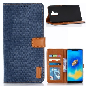 Oxford Cloth Wallet Stand PU Leather Cover for Huawei Mate 20 Lite - Dark Blue