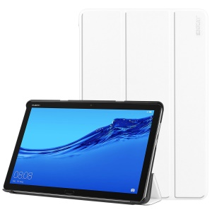 ENKAY PU Leather Smart Tablet Shell with Tri-fold Stand for Huawei MediaPad M5 lite 10 - White