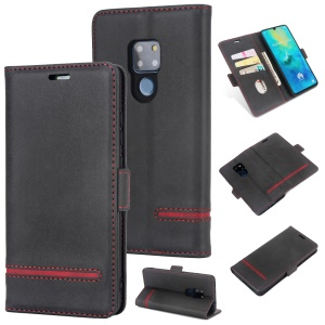 [estilo De Negócios] Case Para Huawei Mate 20 Splicing Leather Wallet Casing - Preto