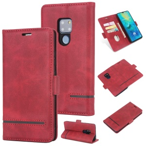[Business Style] Case for Huawei Mate 20 Splicing Leather Wallet Case - Red