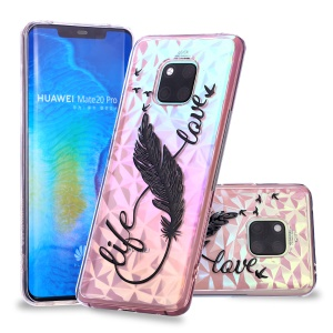 Embossed Pattern 3D Diamond Texture TPU Case for Huawei Mate 20 Pro - Feather Pen