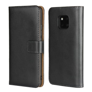 Genuine Leather Flip Phone Cover with [Stand Wallet] for Huawei Mate 20 Pro - Black