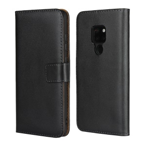 Genuine Leather Protection Phone Casing with [Stand Wallet] for Huawei Mate 20 - Black