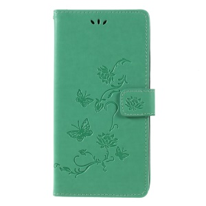 Imprint Butterfly Flowers Leather Stand Wallet Folio Cellphone Case for Huawei Mate 20 X - Green