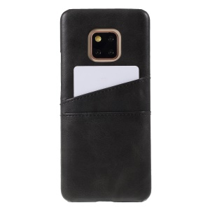 Dual Card Slots PU Leather Coated PC Phone Cover for Huawei Mate 20 Pro - Black