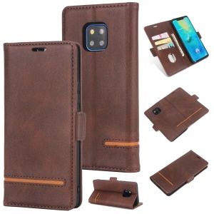 [Business Style] Splicing Leather Wallet Mobile Shell  for Huawei Mate 20 Pro - Coffee