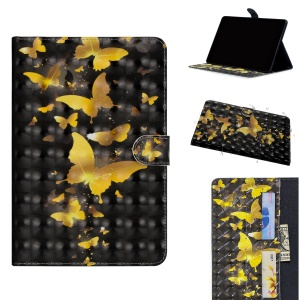 Light Spot Decor Patterned Smart Leather Wallet Case for Huawei MediaPad M5 lite 10 - Gold Butterfly