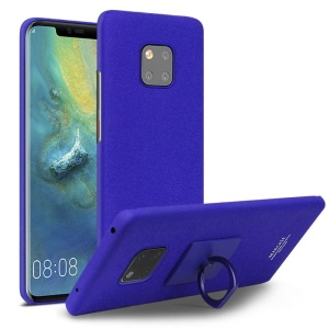 IMAK Ring Holder Kickstand Frosted Hard Plastic Back Cover + Screen Protector for Huawei Mate 20 Pro - Blue