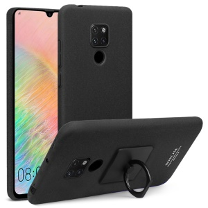 IMAK Ring Holder Kickstand Frosted Hard Plastic Hard Case + Screen Protector for Huawei Mate 20 X - Black