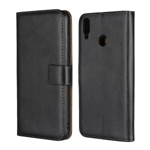 Genuine Leather Wallet Stand Protection Case Cover for Huawei Honor 8X/Honor View 10 Lite - Black