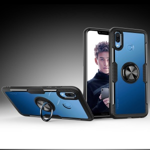 For Huawei Honor Play Finger Ring Kickstand TPU + Glass Combo Phone Case [Built-in Magnetic Metal Sheet] - Black