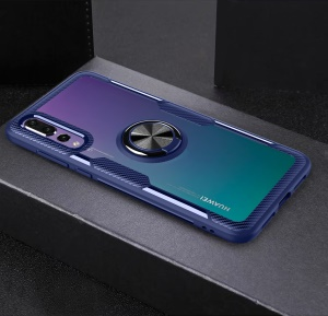 Finger Ring Kickstand TPU + Glass Combo Mobile Cover for Huawei P20 Pro [Built-in Magnetic Metal Sheet] - Blue