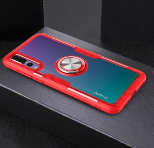 Finger Ring Kickstand TPU + Glass Hybrid Protection Shell for Huawei P20 Pro [Built-in Magnetic Metal Sheet] - Red