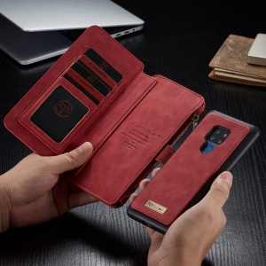 CASEME Detachable 2-in-1 Split Leather Cover with Multiple Card Slots for Huawei Mate 20 - Red