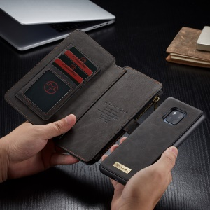 CASEME Detachable 2-in-1 Split Leather Case with Multiple Card Slots for Huawei Mate 20 Pro - Black