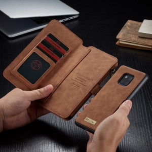 CASEME Detachable 2-in-1 Split Leather Wallet Phone Shell for Huawei Mate 20 Pro - Brown