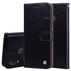 HAT PRINCE Oil Wax PU Leather Wallet Case with Strap for Huawei nova 3i / P Smart+ - Black