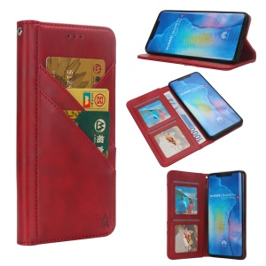 Flip Wallet Stand Leather Phone Shell for Huawei Mate 20 Pro - Red