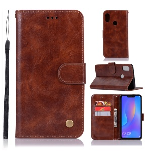 Premium Vintage PU Leather Cover Protector for Huawei Honor 8C - Coffee