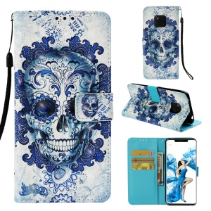Blue Skull and Flowers