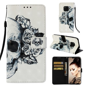 Pattern Printing PU Leather Mobile Casing for Huawei Mate 20 Pro - Skull and Rose