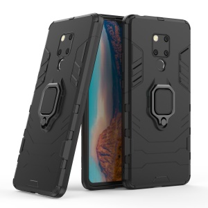 Finger Ring Kickstand PC + TPU Combo Cell Phone Case for Huawei Mate 20 X - Black