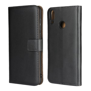 Wallet Stand Genuine Leather Protection Mobile Phone Case for Huawei Honor 8X Max - Black