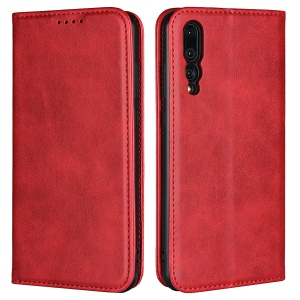 Auto-absorbed Leather Wallet Stand Case for Huawei P20 Pro - Red