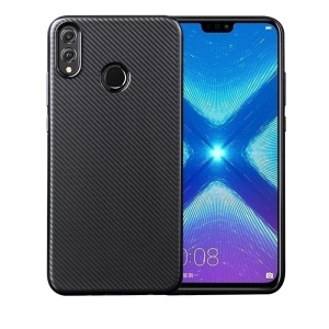 Carbon Fiber Texture Soft TPU Back Phone Case for Huawei Honor 8X / Honor View 10 Lite - Black