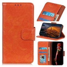 Textured Split Leather Wallet Case Phone Shell for Huawei Honor 10 Lite / P Smart (2019) - Orange