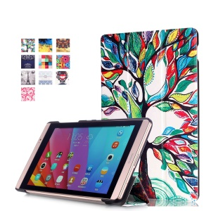 Tri-fold Leather Smart Cover for Huawei MediaPad M2 8.0 - Colored Tree Painting