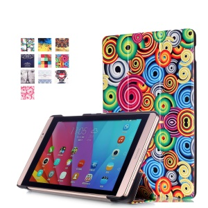 Tri-fold Leather Smart Tablet Case for Huawei MediaPad M2 8.0 - Vortex Pattern