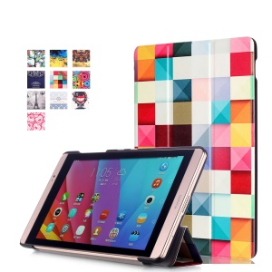 Tri-fold Leather Smart Case Cover for Huawei MediaPad M2 8.0 - Colorful Triangle Pattern