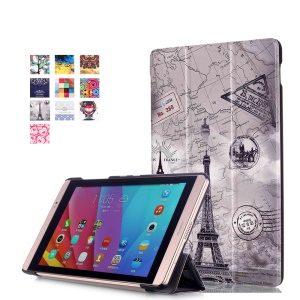 Smart Leather Stand Cover for Huawei MediaPad M2 8.0 - Eiffel Tower and Map
