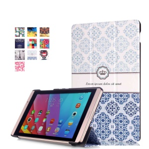 Tri-fold Leather Smart Case for Huawei MediaPad M2 8.0 - Damask Pattern
