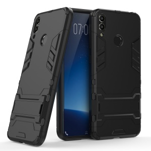 Cool Guard Plastic TPU Hybrid Phone Case with Kickstand for Huawei Honor 8C - Black
