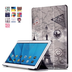 Tri-fold Smart Leather Case for Huawei MediaPad M2 10.0 - Eiffel Tower and Map