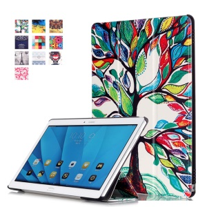 Tri-fold Flip Leather Smart Case for Huawei MediaPad M2 10.0 - Colored Tree Painting