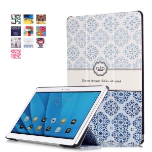 Tri-fold Leather Flip Smart Case for Huawei MediaPad M2 10.0 - Damask Pattern