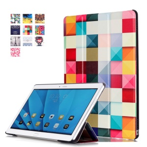 Tri-fold Smart Leather Cover for Huawei MediaPad M2 10.0 - Colorful Triangle Pattern