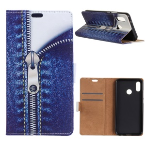 Pattern Printing Leather Wallet Case for Huawei Honor 10 Lite / P Smart (2019) - Jeans Metal Zipper
