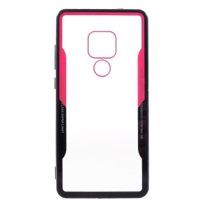 Silicone Edge + Clear Acrylic Back Hybrid Case for Huawei Mate 20 - Black/Red