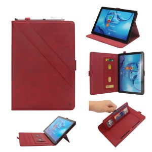 Flip Card Slots Stand Leather Tablet Cover for Huawei Mediapad M5 Pro 10.8 inch - Red