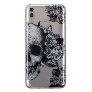 Pattern Printing IMD TPU Soft Case for Huawei Honor 8X - Flowers and Skull