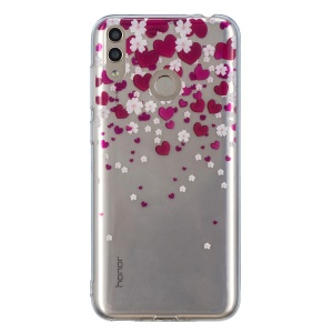 Pattern Printing IMD TPU Protection Case for Huawei Honor 8X - Hearts and Flowers